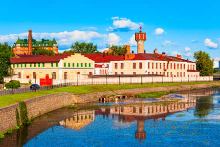 Buildings along Uvod river in the Ivanovo city centre. Ivanovo is a part of Golden Ring tourist tour of Russia.