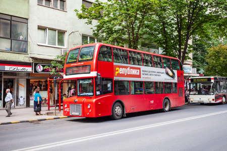SKOPJE, MACEDONIA - MAY 31, 2013: Double decker red bus designed for Skopje city public transportation, North Macedonia