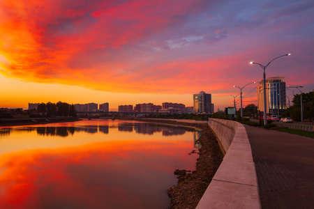 Krasnodar city and Kuban river skyline aerial panoramic view at sunset. Krasnodar is the largest city and administrative centre of Krasnodar Krai.