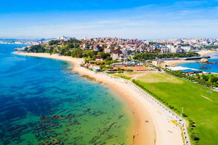 Santander city beach aerial panoramic view. Santander is the capital of the Cantabria region in Spain