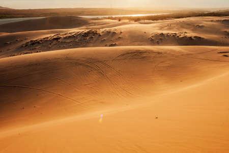 Sand dunes on sunset near Mui Ne or Phan Thiet city in Vietnam