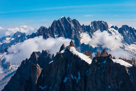 Mont Blanc or Monte Bianco meaning White Mountain is the highest mountain range in the Alps and in Europe, located between France and Italy Stock fotó