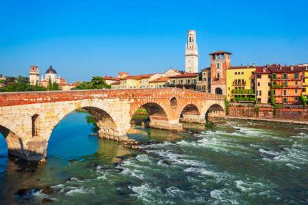 Ponte Pietra bridge is a Roman arch stone bridge crossing the Adige River in Verona, Veneto region in Italy