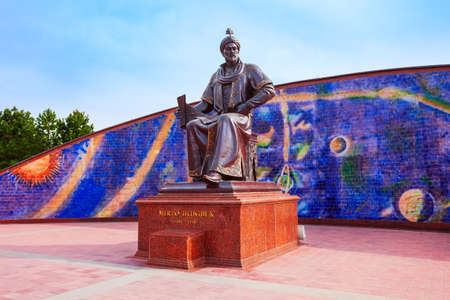 Astronomer Mirzo Ulugbek Monument near the Ulugh Beg Observatory in the Samarkand city in Uzbekistan
