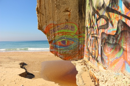graffiti art by the sea