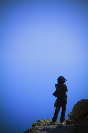 silhouette of a girl on a mountain of Ein Gedi Stock Photo