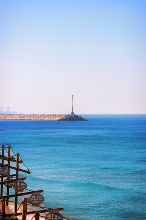 Lighthouse in Ashkelon afar Stock Photo