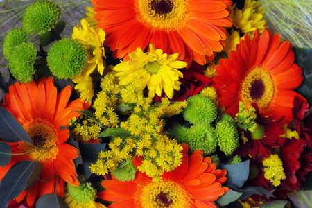 festive bouquet of flowers with gerbera
