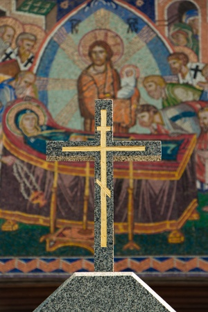 Christian cross on a background of the biblical mosaics Stock Photo