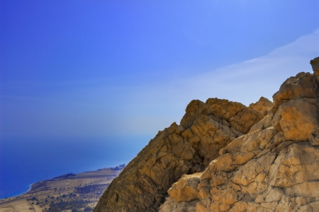 Dead Sea view from the mountain of Ein Gedi photo
