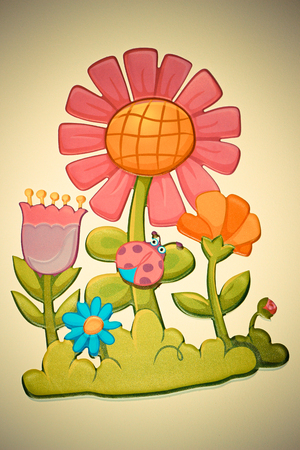 illustration of flowers with ladybug Stock Photo