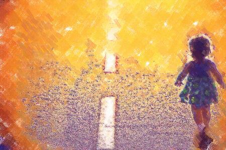 Meisje weglopen op de weg Stockfoto