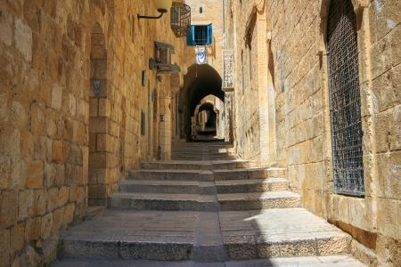 이스라엘, 예루살렘, 돌의 거리 스톡 콘텐츠