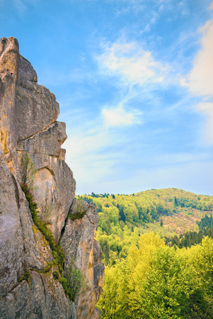 Tustan - vieille ville rock forteresse, vue de face, Ukraine photo