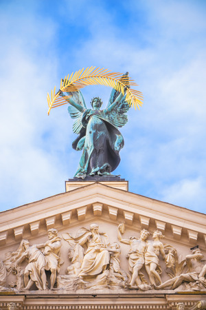 statue adorn front of Lviv State Academic Opera and Ballet Theatre. Theatre (1897 - 1900) was built in classical tradition of Renaissance and Baroque architecture. Ukraine