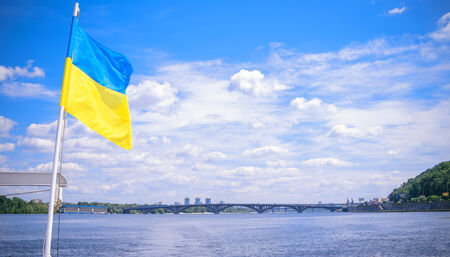 Ukrainian flag on the Dnipro River in Kiev