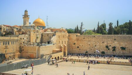 View of the Wailing Wall and on the gold-plated Dome Rock Al-Aqsa, Temple Mount, minaret, Jerusalem. Israel. Editorial
