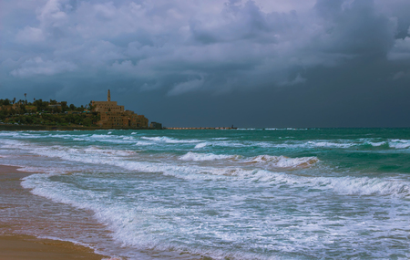 Landscape composition marine off the coast of Tel Aviv Yaffo. Israel photo