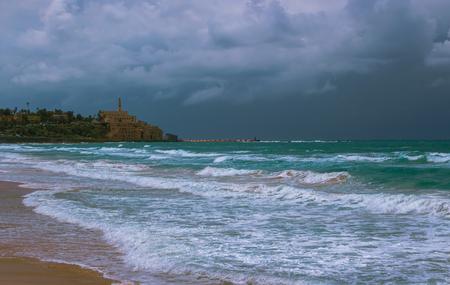 yaffo: Paisaje composici�n marina en la costa de Tel Aviv. Israel Foto de archivo