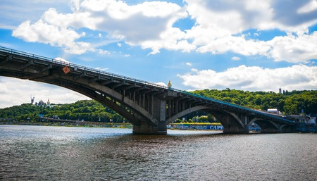 right bank: panorama of the Bridge-metro and the right bank of the Dnieper and a great restaurant on the river in Kiev
