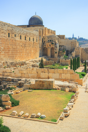 protection of the bible: Jerusalem, Al-Aqsa Mosque of Omar view from the western wall Stock Photo