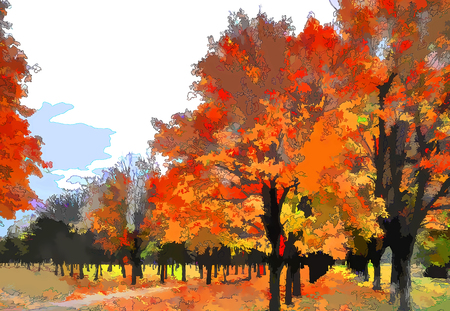 Illustration. Painting. Artwork. Art autumn landscape as oil painting. Grunge picture showing trees.