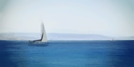 coastlines: Private yacht in the Sea. Watercolor effect.