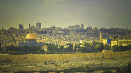 Panoramic picture with the Al-Aqsa Mosque and the old Jewish cemetery