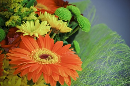 Festive bouquet of flowers with a large flower Gerbera in a leading role