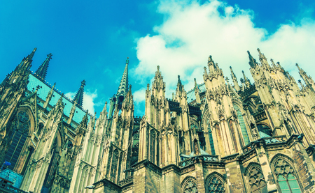 Cologne Cathedral.  - a Roman Catholic Gothic cathedral in Cologne. Side view. Slight toning.