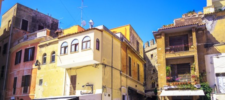 Italian architecture. Stylish cottage by the sea in the tourist area. 版權商用圖片