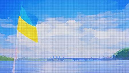 Ukrainian flag on the Dnipro River in Kiev. illustration. Ukraine. Dnieper. Flag. Bridge over the river in the distance. Stock Photo