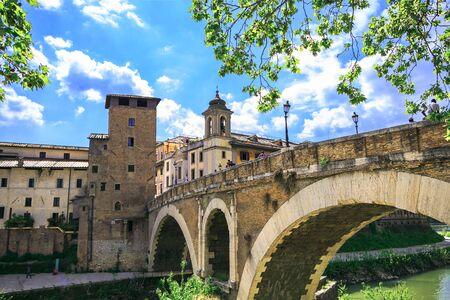 A bridge Ponte Cestio or bridge of St. Bartholomew.