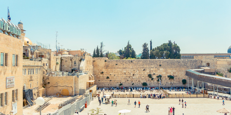 Wailing Wall and on the gold-plated Dome Rock Al-Aqsa 版權商用圖片