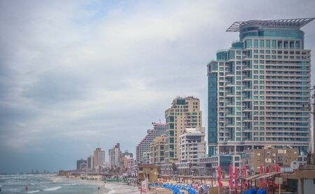 Tel Aviv. Israel. Embankment. Hotels. Beach. Camera: Canon EOS 650D. Date: 2015-04-10. Focal length: 27 mm