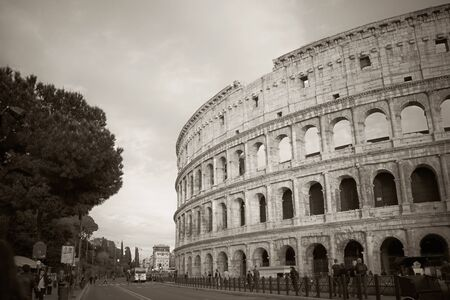 A snapshot of the Colosseum in black and white.
