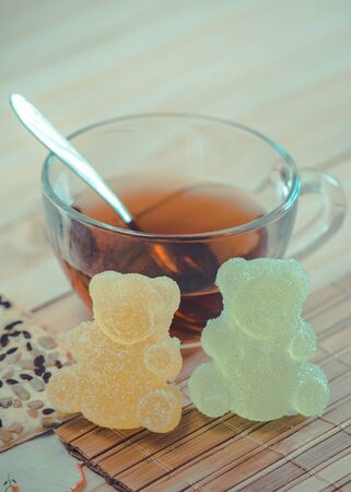 Marmalade bears and cereal cookies with tea