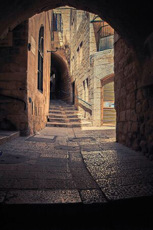 Stone streets of the ancient city. Jerusalem. Israel. 版權商用圖片
