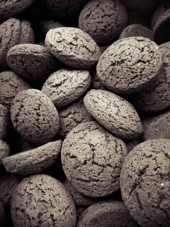 Oatmeal gingerbread cookies in black and white color.