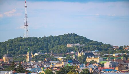 Panorama of Lviv. Ukraine. High castle and the tops of other architectural structures.