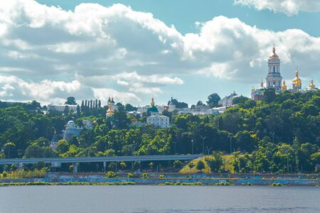 Kiev-Pechersk Lavra. View of the sights from the Dnieper.