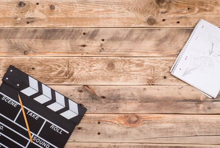 Movie clapper board and storyboard