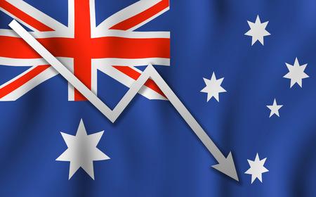 Arrow down of flag Australia background