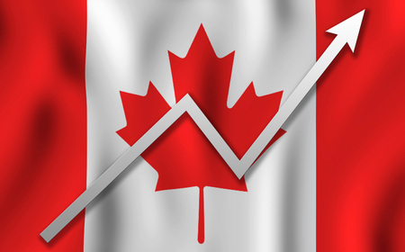 the graph up against the background of the canada flag Stock Photo