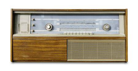 Vintage old radio isolated on white background