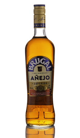 Tyumen, Russia - July 04, 2019. Bottle of Brugal anejo rum. Brugal is the name and brand of a variety of rums from the Dominican Republic produced by Brugal & Co., C. por A. Editorial