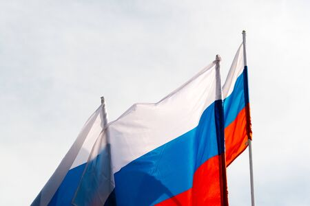 Russian flags in the wind