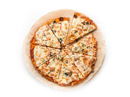 Pizza on white background. Top view