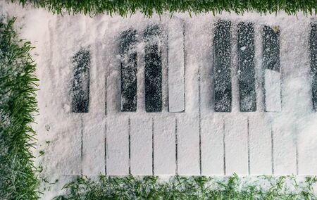 Winter grand piano in the snow Stock Photo