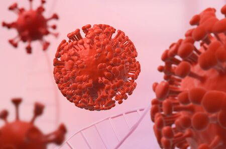 coronavirus COVID-19 cell under the microscope. Red viruses in space 3D illustration. Stock Photo